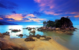 Preview wallpaper Coast, sea, island, trees, stones, sky, clouds, sunset