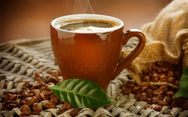 Cup, coffee drink, steam, coffee beans, leaf