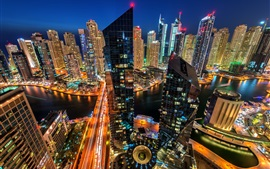 Preview wallpaper Dubai Marina, Dubai, UAE, city, evening, buildings, skyscrapers, houses, lights