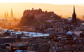Preview wallpaper Edinburgh Castle, Scotland, stronghold, city, houses, buildings, dawn