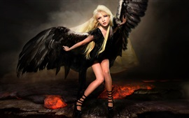 Fallen angel, wings, blonde girl, creative