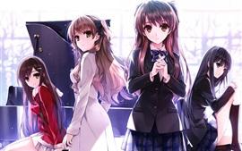 미리보기 배경 화면 네 아름다운 애니메이션 소녀, 여학생, 피아노