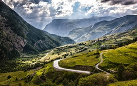 France, Alps, mountains, fields, roads, village, clouds, sun rays