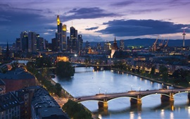 Preview wallpaper Frankfurt, Germany, evening, skyscrapers, river, bridges, streets, lights