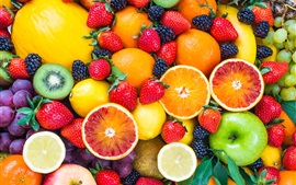 Preview wallpaper Fresh fruits, strawberries, raspberries, orange, apple, kiwi, grape