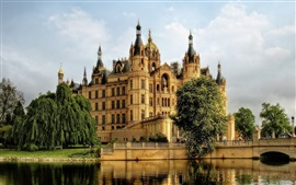 Germany, Schwerin, castle, river, tree, bridge, clouds