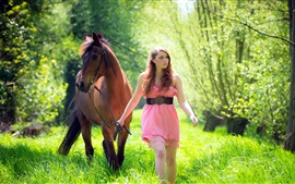 Preview wallpaper Girl and horse, grass, forest