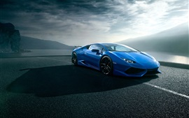 Lamborghini Huracan blue luxury supercar, road, clouds
