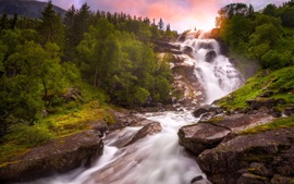 Norway, waterfall, river, trees, sunset