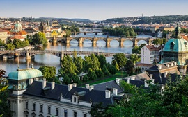 Preview wallpaper Prague, Czech Republic, city, Vltava river, bridges, houses