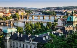 Praga, República Checa, ciudad, río Vltava, puentes, casas