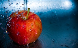 Preview wallpaper Red apple, water drops, splash