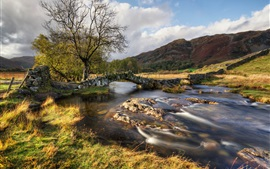 River, bridge, hills, grass, trees, clouds, autumn Wallpapers Pictures Photos Images