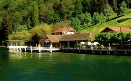 Preview wallpaper Switzerland, Burgenstock, Lake Lucerne, pier, houses, slope, trees