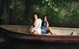 Preview wallpaper Two girls in the boat