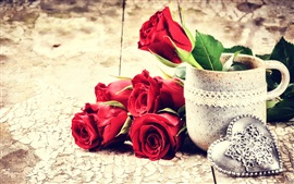 Preview wallpaper Valentine's Day, red rose flowers, love hearts, cup