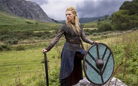 Preview wallpaper Vikings, Katheryn Winnick, sword