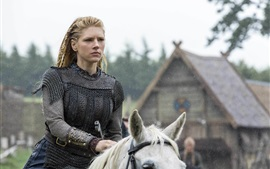Preview wallpaper Vikings, historical drama, Katheryn Winnick, horse