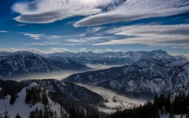 Winter, sky, clouds, mountains, valley, trees, snow