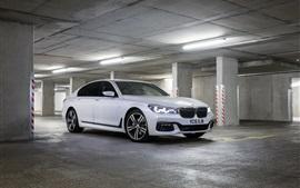2015 BMW M7 белый автомобиль остановка на стоянке