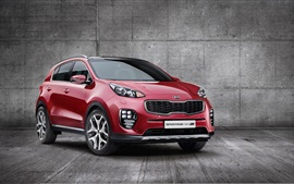 Preview wallpaper 2015 Kia Sportage red SUV car