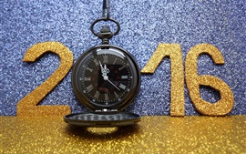Aperçu fond d'écran 2016 Happy New Year, or, scintillement, montre