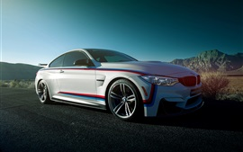 BMW M4 coupe, white car side view