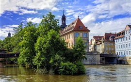Preview wallpaper Bamberg, Germany, river, trees, houses
