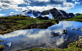 Preview wallpaper Beautiful nature, lake, mountains, snow, clouds