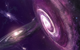 Preview wallpaper Beautiful universe, stars, galaxies, purple color nebula