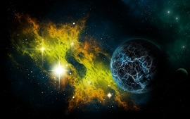 Preview wallpaper Beautiful universe, stars, planet, light