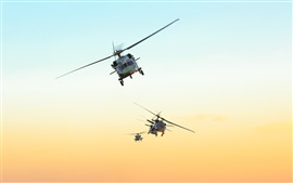Preview wallpaper Black Hawk helicopter, Brazil air force, sky, sunset