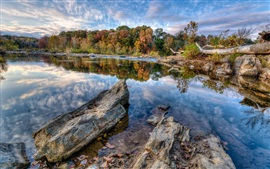 Preview wallpaper Blue sky, clouds, lake, trees, rocks, autumn