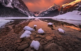 Preview wallpaper Canada, Alberta, Banff National Park, rocky mountains, glacial lake, snow