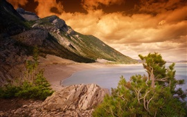 Preview wallpaper Coast, sea, mountains, reefs, pine needles trees, clouds, sunset