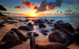 Preview wallpaper Coast, sea, ocean, stones, sunrise, clouds, horizon