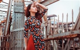 Preview wallpaper Colorful dress Asian girl, fence