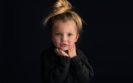 Preview wallpaper Cute baby girl, portrait, blonde, black background