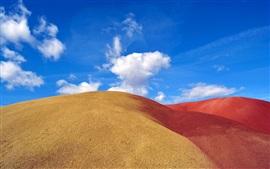 Deserto, areia, dunas, céu azul, nuvens
