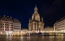 Preview wallpaper Dresden, Germany, city night, lights, square, buildings