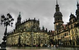 Dresden, Germany, houses, night, rain