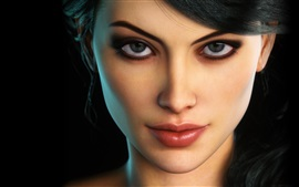 Preview wallpaper Fantasy girl, face, eyes, makeup, black background