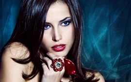 Preview wallpaper Fashion girl, blue eyes, makeup, ring