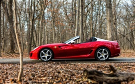 Preview wallpaper Ferrari red supercar in the forest