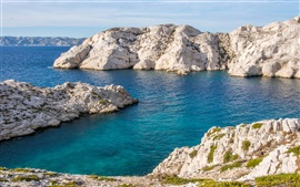 Preview wallpaper France, Marseille, coast, blue sea, stones