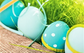 Preview wallpaper Happy Easter, blue color eggs, grass, spring