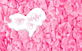 Happy Valentine's Day, many pink love hearts