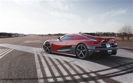 Preview wallpaper Koenigsegg red supercar, road, sky
