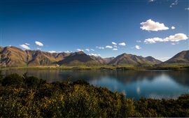 Preview wallpaper Lake Wakatipu, Otago, New Zealand, blue sky, clouds, mountains