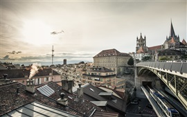 Preview wallpaper Lausanne, Switzerland, city, houses, train, dusk